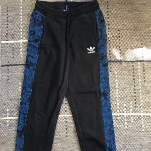 Adidas Black/Blue Floral Joggers